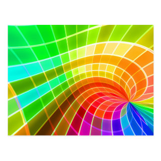 Geometric Rainbow Swirl Postcard