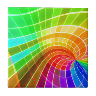 Geometric Rainbow Swirl Small Square Tile