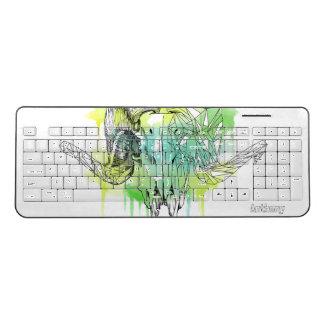 Geometric ram skull drawing wireless keyboard