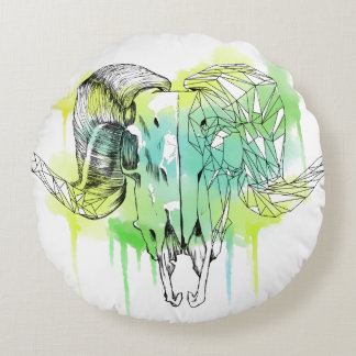 Geometric Ram Skull two sided Round Pillow