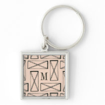 Geometric Rectangle X Design Keychain