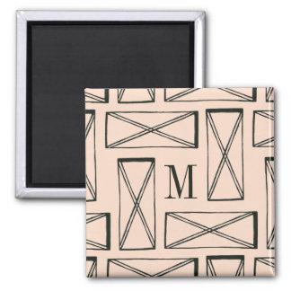 Geometric Rectangle X Design Magnet