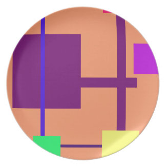 Geometric Rectangles before Plaid Mango Tango Party Plates