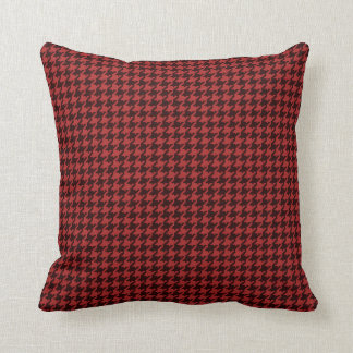 Geometric Red & Black Textured Houndstooth Pattern Throw Pillow