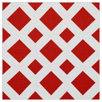 Geometric Red Diamonds on White Fabric