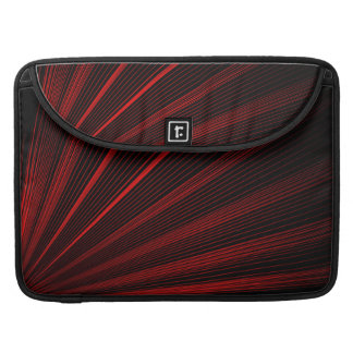 Geometric Red Lines On Black Macbook Sleeve