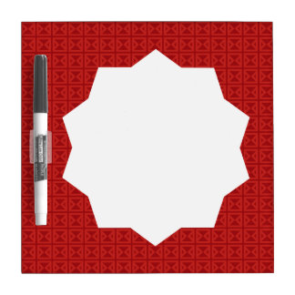Geometric Red Pattern with Custom Monogram Dry Erase Board