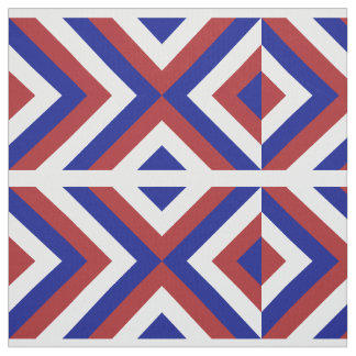 Geometric Red, White, and Blue Chevrons Fabric