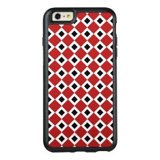 Geometric Red, White, Black Diamond Pattern