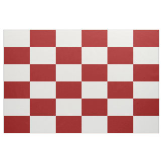Geometric Red & White Checkered Rectangles Fabric