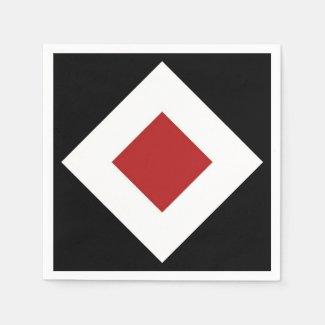 Geometric Red White Diamonds on Black Pattern Napkin