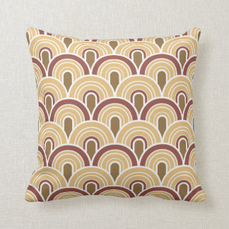 Geometric Retro Arches 3 Throw Pillow