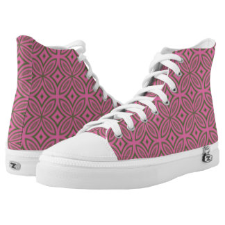 Geometric retro flower retro pink and olive green High-Top sneakers