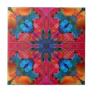 Geometric Retro Hippie Fantasy Tile