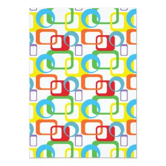 Geometric Retro Multicolored Pattern Card