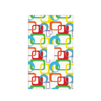 Geometric Retro Multicolored Pattern Light Switch Plate