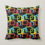 Geometric Retro Multicolored Pattern Pillow