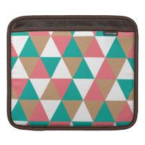 Geometric Retro Triangle Pattern Teal Pink Tan iPad Sleeve