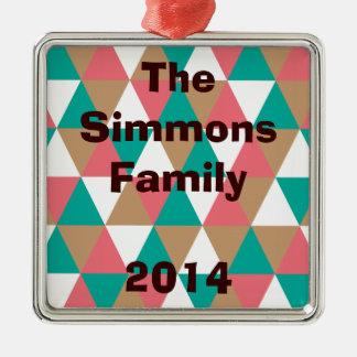 Geometric Retro Triangle Pattern Teal Pink Tan Metal Ornament