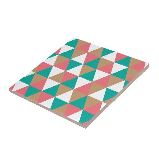 Geometric Retro Triangle Pattern Teal Pink Tan Ceramic Tile