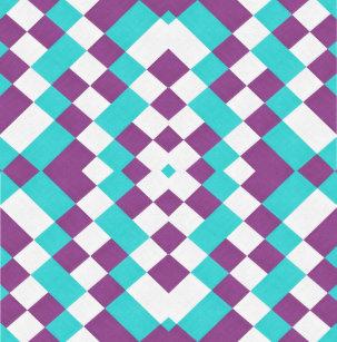 Geometric Retro White Aqua Purple Shower Curtain