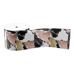 Geometric rose gold black white marble color block grosgrain ribbon