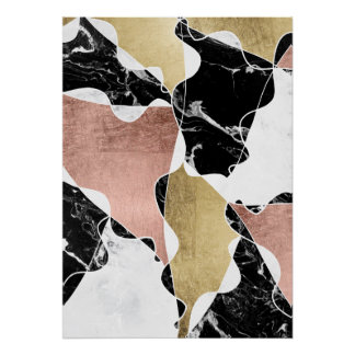 Geometric rose gold black white marble color block poster