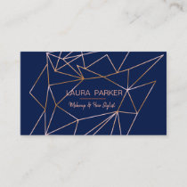 Geometric Rose Gold Blue Professional Construct Business Card