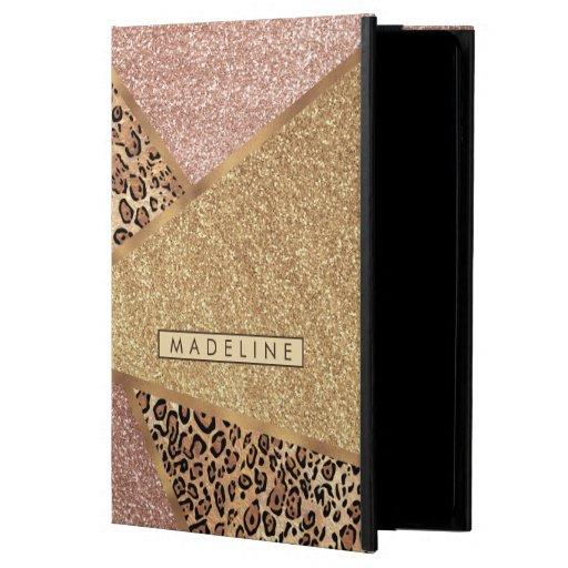 Geometric Rose Gold Blush Glitter Leopard Pattern Case For iPad Air