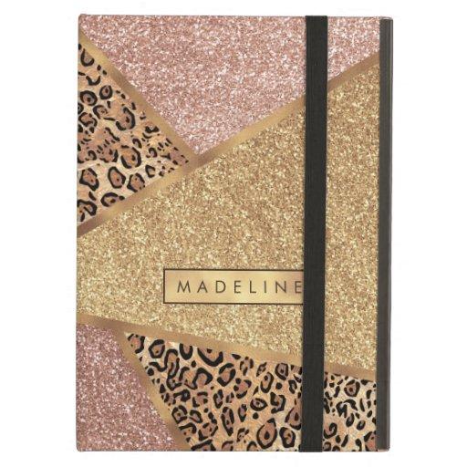 Geometric Rose Gold Blush Glitter Leopard Print Case For iPad Air