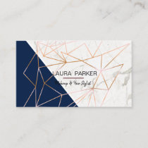 Geometric Rose Gold Marble Navy Blue Girly Business Card