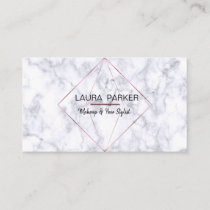 Geometric Rose Gold Marble Professional Construct Business Card