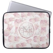 Geometric rose gold pineapples marble pattern laptop sleeve