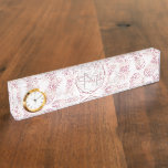 Geometric rose gold pineapples marble pattern name plate