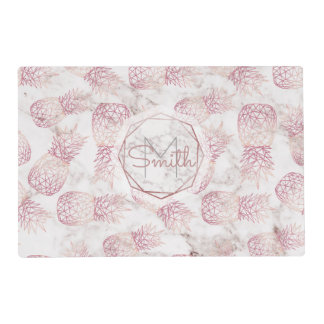 Geometric rose gold pineapples marble pattern placemat