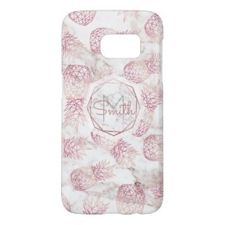 Geometric rose gold pineapples marble pattern samsung galaxy s7 case
