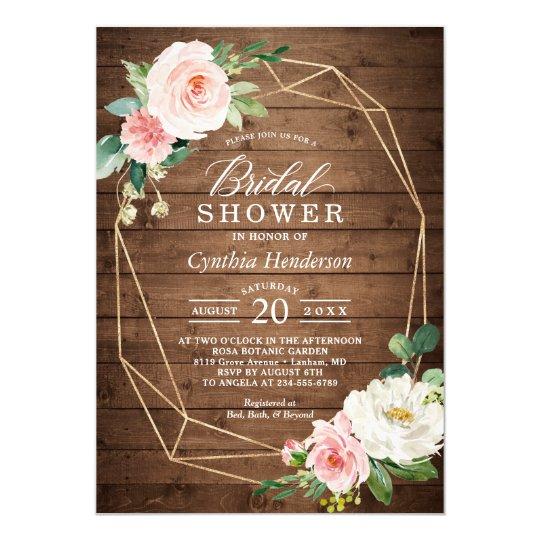 3c22cfea8716 Geometric Rustic Wood Blush Floral Bridal Shower Invitation