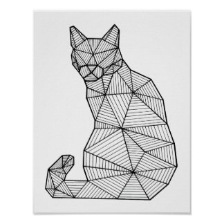 Geometric Seated Cat, Back Poster
