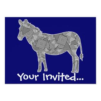Geometric Shape Collage Zebra (Blue Background) 5.5x7.5 Paper Invitation Card