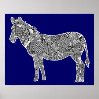 Geometric Shape Collage Zebra Blue Background Poster
