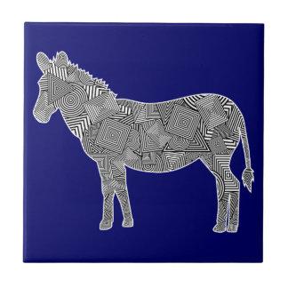 Geometric Shape Collage Zebra Blue Background Tiles