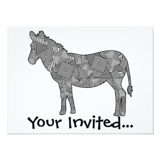 Geometric Shape Collage Zebra 5.5x7.5 Paper Invitation Card