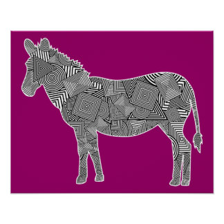 Geometric Shape Collage Zebra Magenta Background Print