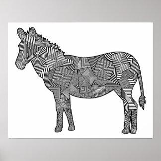 Geometric Shape Collage Zebra Print