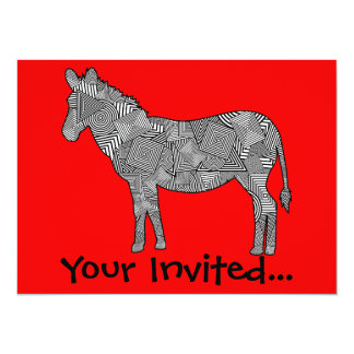 Geometric Shape Collage Zebra (Red Background) 5.5x7.5 Paper Invitation Card