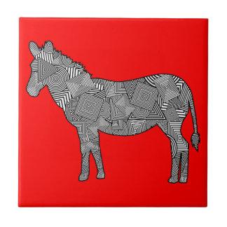 Geometric Shape Collage Zebra Red Background Ceramic Tile
