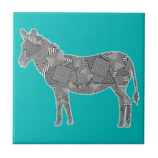 Geometric Shape Collage Zebra Turquoise Background Ceramic Tiles