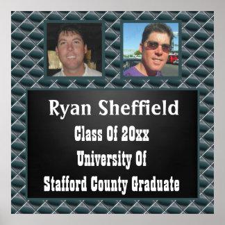 Geometric Shapes Chalkboard 2 Photo Graduation Poster