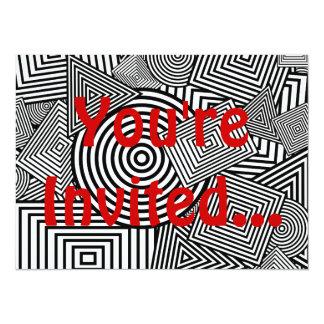 Geometric Shapes Collage (Black & White) 5.5x7.5 Paper Invitation Card