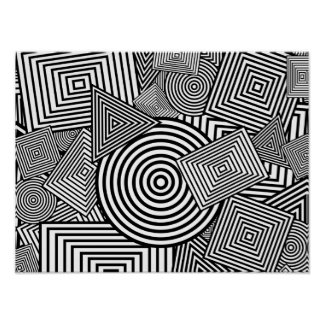 Geometric Shapes Collage (Black & White) Poster